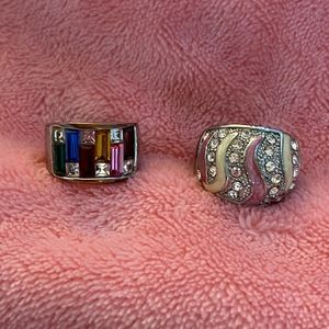Set of 2 Silver Tone Costume Rings